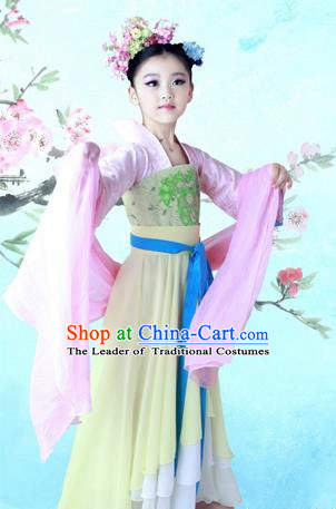 Traditional Ancient Chinese Imperial Consort Children Costume, Chinese Tang Dynasty Little Girl Dress, Cosplay Chinese Concubine Embroidered Clothing Hanfu for Kids
