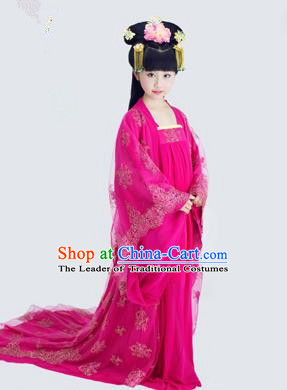 Traditional Ancient Chinese Imperial Consort Children Costume, Chinese Tang Dynasty Little Girl Dress, Cosplay Chinese Concubine Embroidered Clothing Tailing Hanfu for Kids