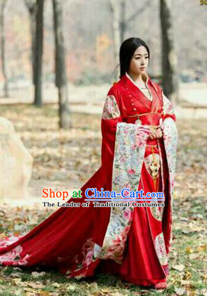 Traditional Ancient Chinese Imperial Emperess Costume, Chinese Han Dynasty Consort Wedding Dress, Cosplay Chinese Princess Consort Clothing White Hanfu for Women