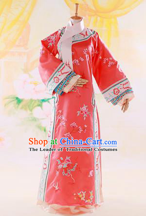 Traditional Ancient Chinese Imperial Consort Costume, Chinese Qing Dynasty Manchu Lady Dress, Cosplay Chinese Mandchous Imperial Concubine Red Embroidered Clothing for Women
