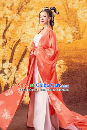 Traditional Ancient Chinese Imperial Consort Costume, Chinese Tang Dynasty Emperess Dress, Cosplay Chinese Peri Imperial Concubine Embroidered Clothing for Women