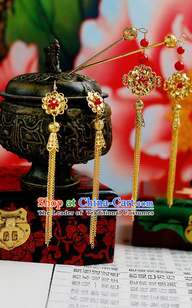 Chinese Wedding Jewelry Accessories, Traditional Xiuhe Suits Wedding Bride Headwear, Wedding Tiaras, Ancient Chinese Harpins and Earrings for Women
