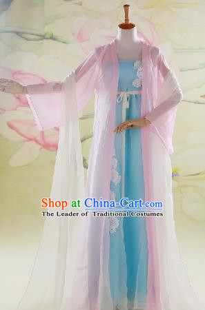 Traditional Ancient Chinese Swordswoman Costume, Chinese Han Dynasty Fairy Dress, Cosplay Game Character Chinese Peri Princess Lace Clothing for Women