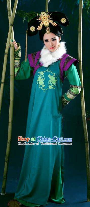 Traditional Ancient Chinese Imperial Consort Costume, Chinese Qing Dynasty Manchu Princess Dress, Cosplay Chinese Mandchous Imperial Concubine Embroidered Clothing for Women