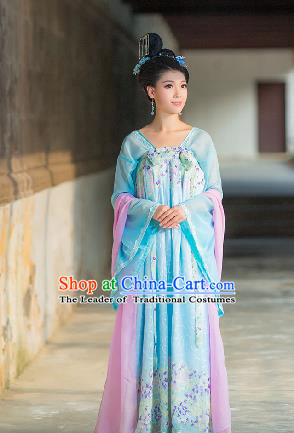 Traditional Ancient Chinese Imperial Emperess Costume, Chinese Tang Dynasty Palace Lady Dress, Cosplay Chinese Princess Blue Printing Clothing for Women