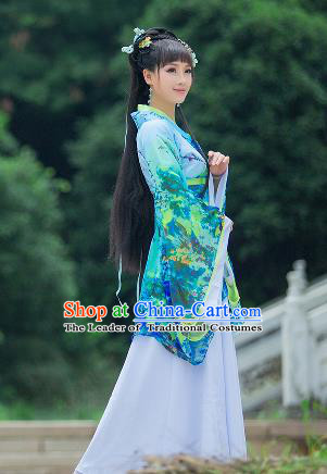 Traditional Ancient Chinese Imperial Emperess Costume, Chinese Han Dynasty Palace Lady Dress, Cosplay Chinese Princess Printing Flowers Green Hanfu Ru Skirt Clothing for Women