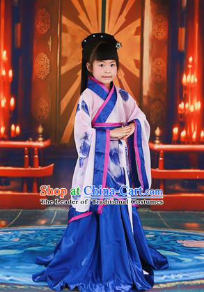 Traditional Ancient Chinese Imperial Consort Children Costume, Chinese Han Dynasty Little Girl Dress, Chinese Embroidered Clothing Printed Hanfu for Kids