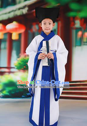Traditional Ancient Chinese Children Costume, Chinese Han Dynasty Boys Students Dress, Cosplay Chinese Scholar Clothing Hanfu Complete Set for Kids