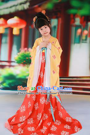 Traditional Ancient Chinese Imperial Consort Children Costume, Chinese Tang Dynasty Little Girl Red Dress, Cosplay Chinese Concubine Embroidered Clothing Hanfu for Kids