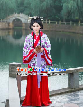 Traditional Ancient Chinese Imperial Emperess Cotton Costume, Chinese Han Dynasty Wedding Dress, Cosplay Chinese Peri Concubine Embroidered Hanfu Clothing for Women