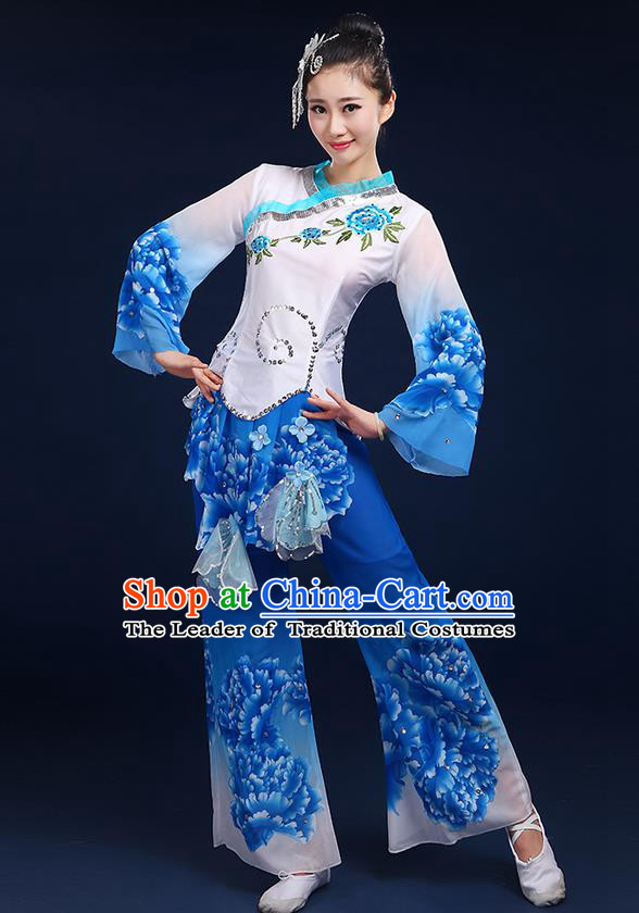 Traditional Chinese Yangge Fan Dancing Costume, Folk Dance Yangko Mandarin Sleeve Peony Painting Blouse and Pants Uniforms, Classic Umbrella Dance Elegant Dress Drum Dance Blue Clothing for Women