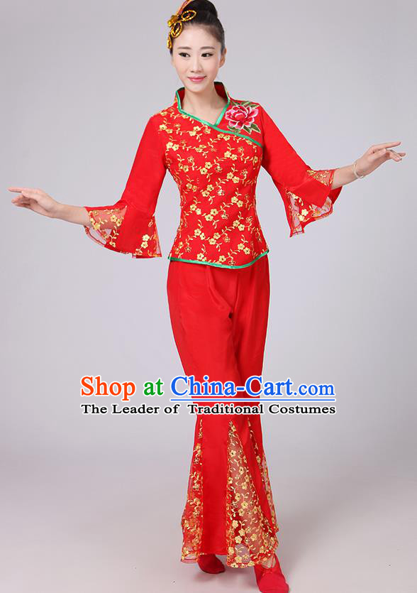Traditional Chinese Yangge Fan Dancing Costume, Folk Dance Yangko Mandarin Sleeve Gilding Blouse and Pants Uniforms, Classic Dance Elegant Dress Drum Dance Red Clothing for Women