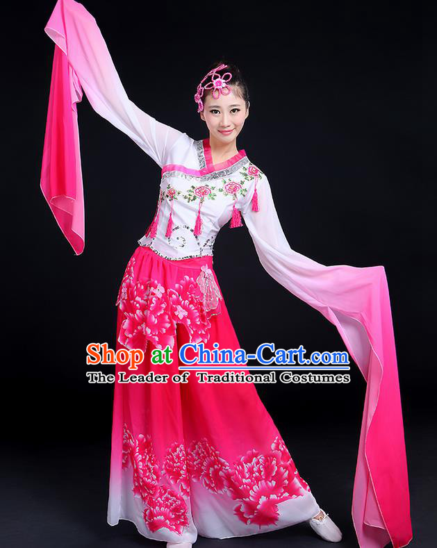 Traditional Chinese Yangge Fan Dancing Costume, Folk Dance Yangko Gradient Water Sleeve Tassel Uniforms, Classic Umbrella Dance Elegant Dress Drum Dance Clothing for Women