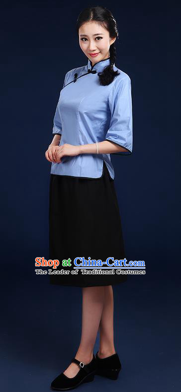 Traditional Chinese Style Modern Dancing Compere Costume, Women Opening Chorus Singing Group Classic Dance May 4th Movement Students Uniforms, Modern Dance Classic Dance Blue Blouse and Skirt for Women
