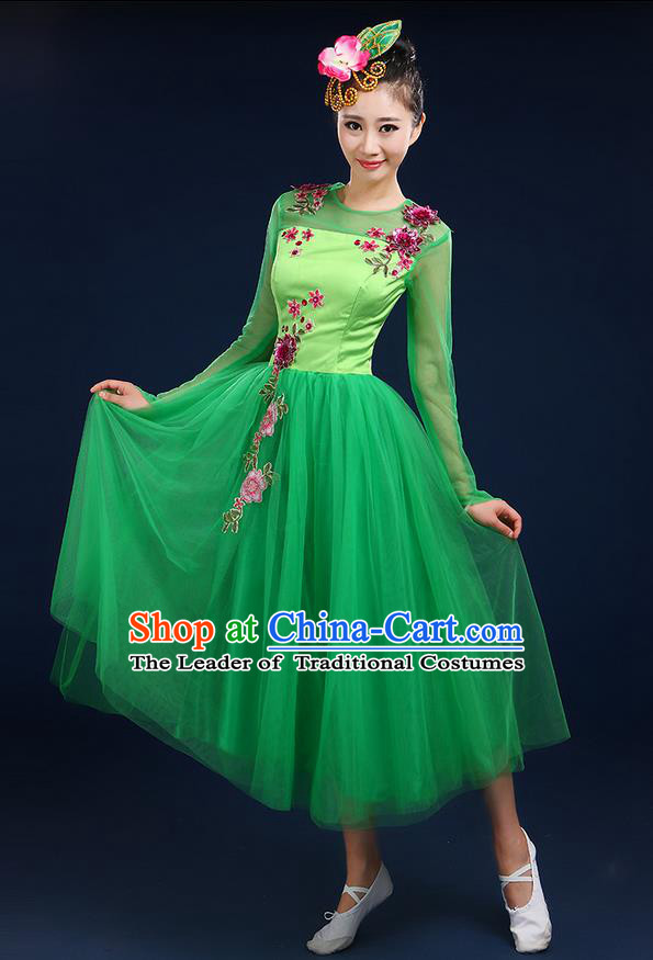 Traditional Chinese Modern Dancing Compere Costume, Women Opening Classic Dance Chorus Singing Group Bubble Uniforms, Modern Dance Classic Dance Big Swing Green Middle Dress for Women
