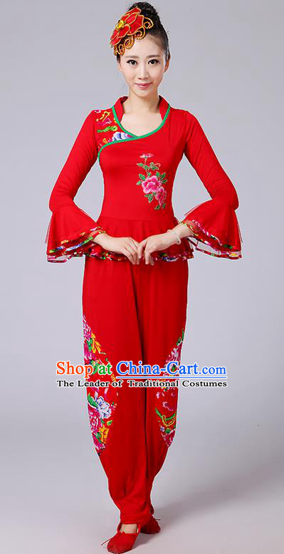 Traditional Chinese Yangge Fan Dancing Costume, Folk Dance Yangko Mandarin Sleeve Embroidery Peony Blouse and Pants Uniforms, Classic Dance Elegant Dress Drum Dance Red Clothing for Women