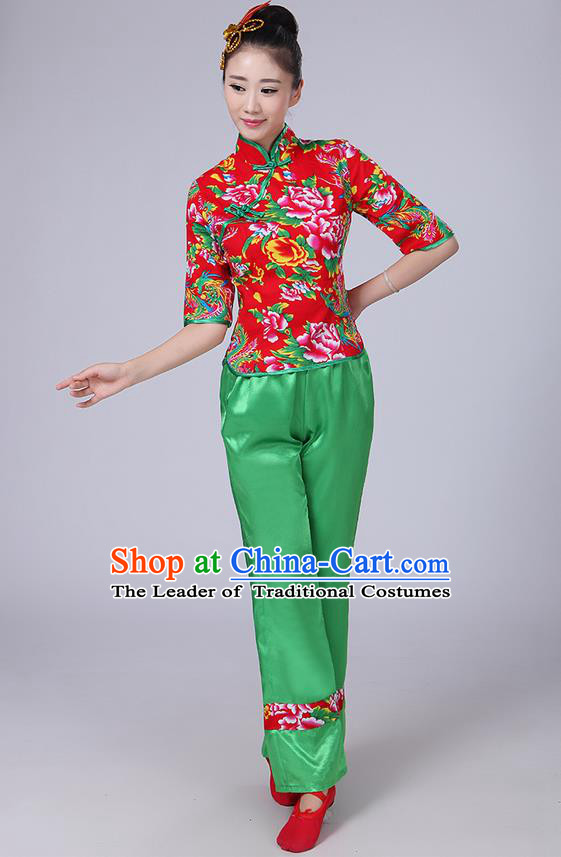Traditional Chinese Yangge Fan Dancing Costume, Folk Dance Yangko Mandarin Collar Peony Blouse and Pants Uniforms, Classic Dance Elegant Dress Drum Dance Clothing for Women