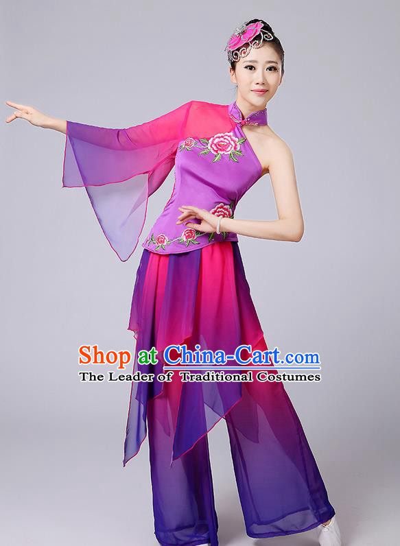 Traditional Chinese Yangge Fan Dancing Costume, Folk Dance Yangko Single Sleeve Peony Blouse and Pants Uniforms, Classic Dance Elegant Dress Drum Dance Clothing for Women