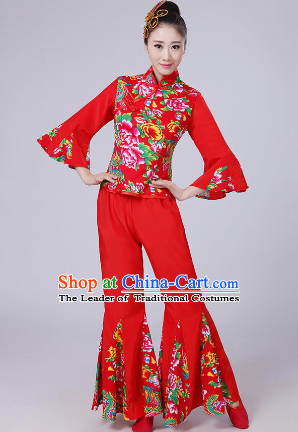 Traditional Chinese Yangge Fan Dancing Costume, Folk Dance Yangko Mandarin Sleeve Phoenix Peony Blouse and Pants Uniforms, Classic Dance Elegant Dress Drum Dance Red Clothing for Women