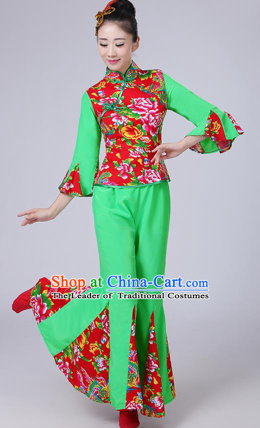 Traditional Chinese Yangge Fan Dancing Costume, Folk Dance Yangko Mandarin Sleeve Phoenix Peony Blouse and Pants Uniforms, Classic Dance Elegant Dress Drum Dance Green Clothing for Women