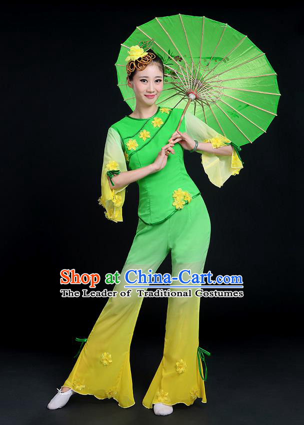 Traditional Chinese Yangge Fan Dancing Costume, Folk Dance Yangko Mandarin Sleeve Jasmine Flower Blouse and Pants Uniforms, Classic Dance Elegant Dress Drum Dance Green Clothing for Women