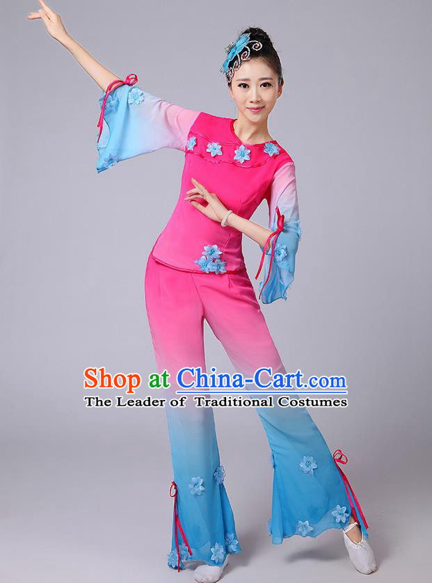 Traditional Chinese Yangge Fan Dancing Costume, Folk Dance Yangko Mandarin Sleeve Jasmine Flower Blouse and Pants Uniforms, Classic Dance Elegant Dress Drum Dance Pink Clothing for Women