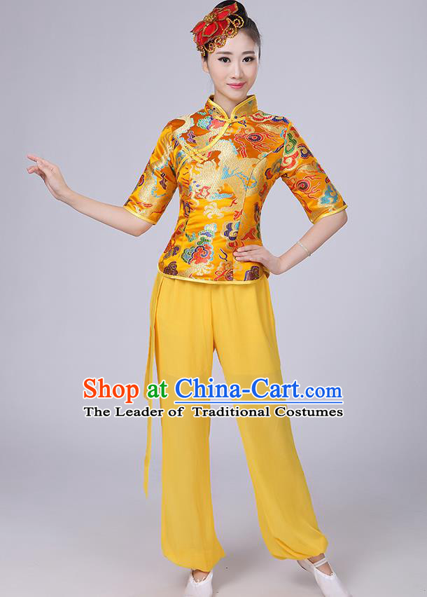 Traditional Chinese Yangge Fan Dancing Costume, Folk Dance Yangko Mandarin Collar Embroidered Dragon Blouse and Pants Uniforms, Classic Dance Elegant Dress Drum Dance Gold Clothing for Women