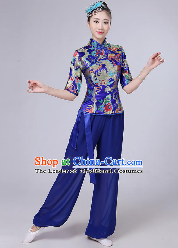 Traditional Chinese Yangge Fan Dancing Costume, Folk Dance Yangko Mandarin Collar Embroidered Dragon Blouse and Pants Uniforms, Classic Dance Elegant Dress Drum Dance Blue Clothing for Women