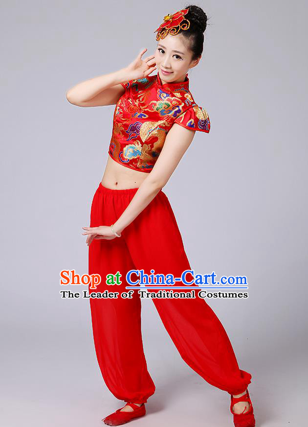 Traditional Chinese Yangge Fan Dancing Costume, Folk Dance Yangko Mandarin Collar Satin Dragon Blouse and Pants Uniforms, Classic Dance Elegant Dress Drum Dance Red Clothing for Women