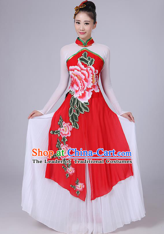 Traditional Chinese Yangge Fan Dancing Costume, Folk Dance Yangko Mandarin Collar Peony Painting Uniforms, Classic Dance Elegant Big Swing Dress Drum Dance Pink Clothing for Women
