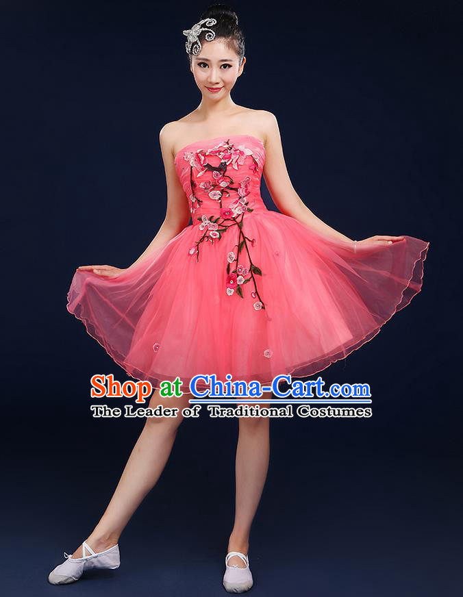 Traditional Chinese Modern Dancing Compere Costume, Women Opening Classic Dance Chorus Singing Group Embroidered Plum Blossom Bubble Uniforms, Modern Dance Classic Dance Big Swing Rose Short Dress for Women