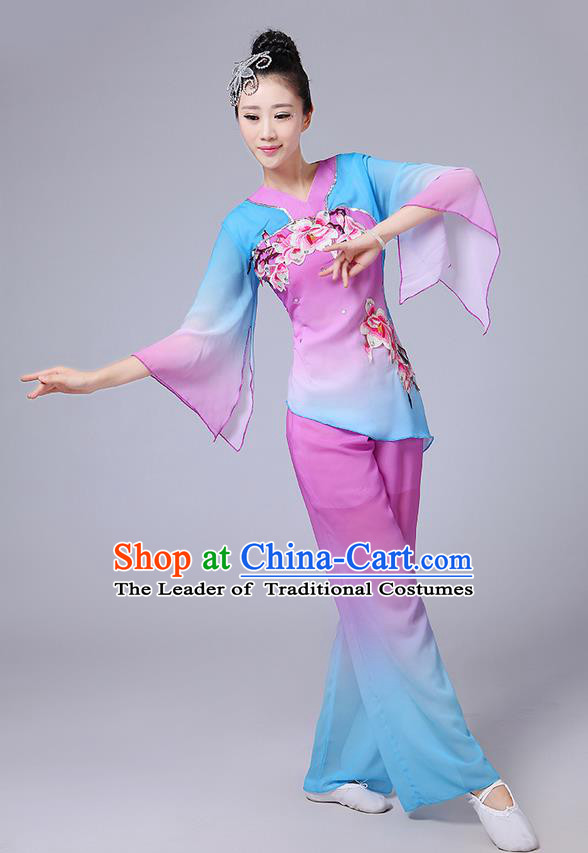 Traditional Chinese Yangge Fan Dancing Costume, Folk Dance Yangko Mandarin Sleeve Blouse and Pants Uniforms, Classic Dance Elegant Dress Drum Dance Pink Clothing for Women