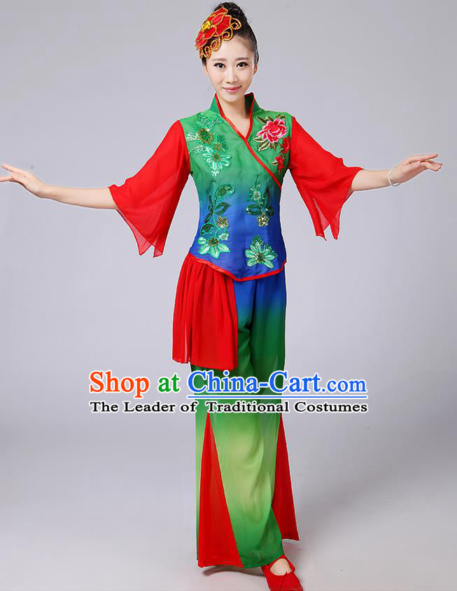 Traditional Chinese Yangge Fan Dancing Costume, Folk Dance Yangko Mandarin Sleeve Blouse and Pants Uniforms, Classic Dance Elegant Dress Drum Dance Red Green Clothing for Women