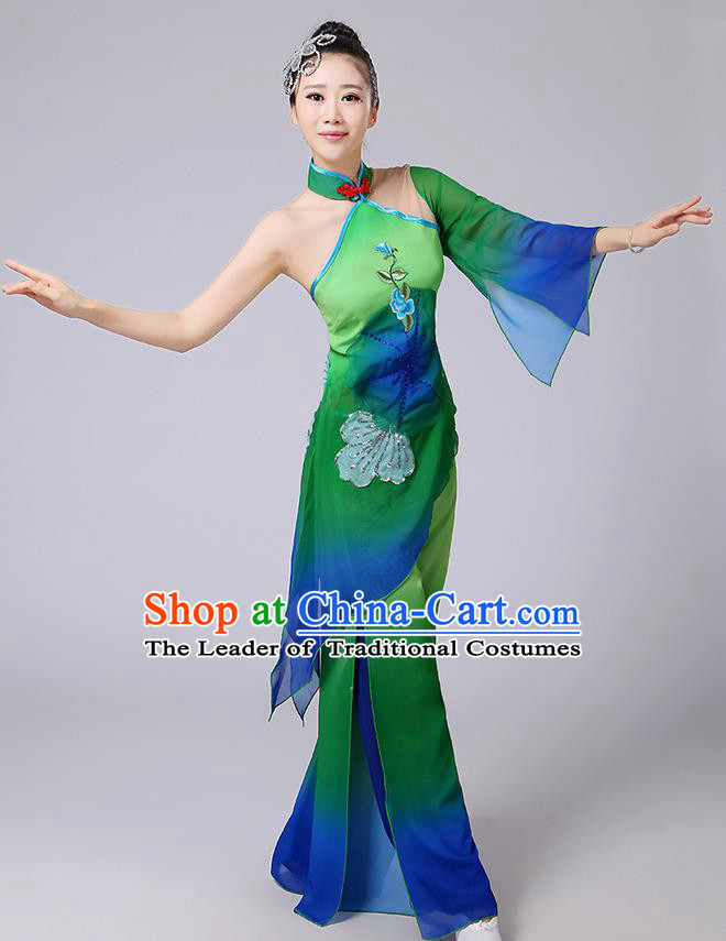 Traditional Chinese Yangge Fan Dancing Costume, Folk Dance Yangko Mandarin Sleeve Blouse and Pants Uniforms, Classic Dance Elegant Dress Drum Dance Green Clothing for Women