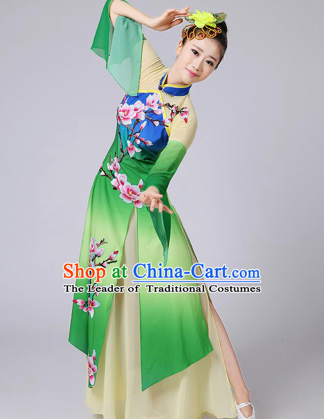 Traditional Chinese Yangge Fan Dancing Costume, Folk Dance Yangko Mandarin Sleeve Embroidered Peach Blossom Uniforms, Classic Dance Elegant Dress Drum Dance Green Clothing for Women