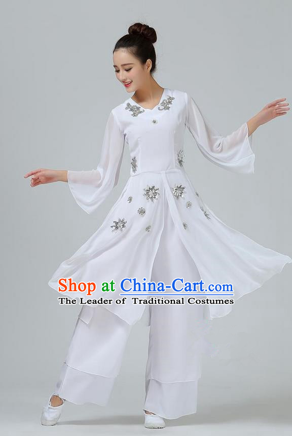 Traditional Chinese Yangge Fan Dancing Costume, Folk Dance Yangko Mandarin Sleeve Uniforms, Classic Umbrella Dance Elegant Big Swing Dress Drum Dance White Clothing for Women
