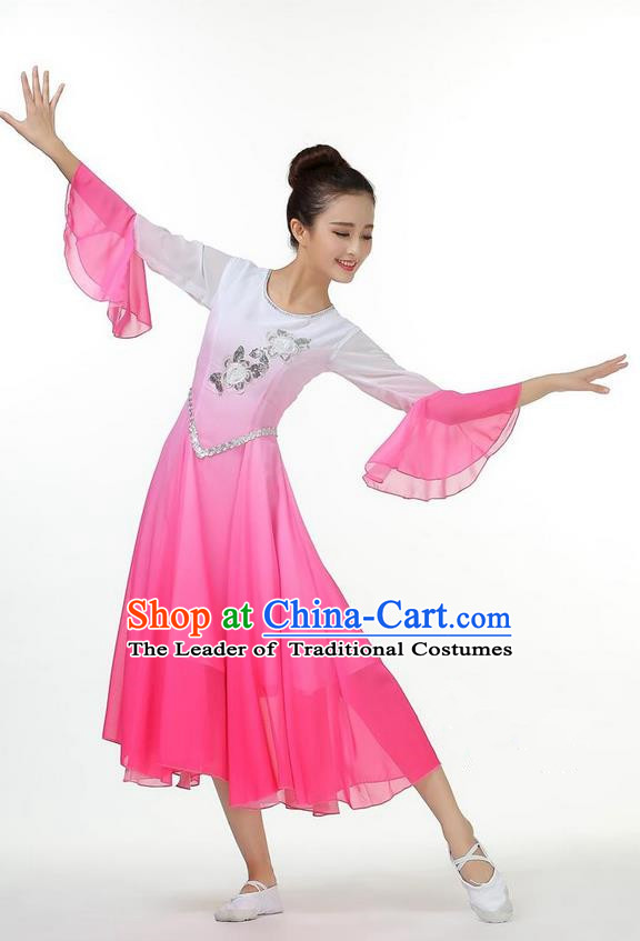 Traditional Chinese Yangge Fan Dancing Costume, Folk Dance Yangko Mandarin Sleeve Uniforms, Classic Umbrella Dance Elegant Big Swing Dress Drum Dance Pink Clothing for Women