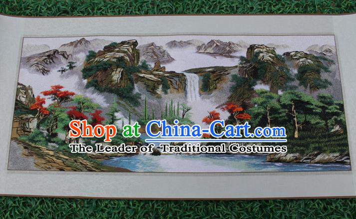Traditional Chinese Miao Nationality Minority Crafts Hmong Xiangxi Embroidery Decorative Paintings, Embroidery Scenery Scroll Painting for Friends