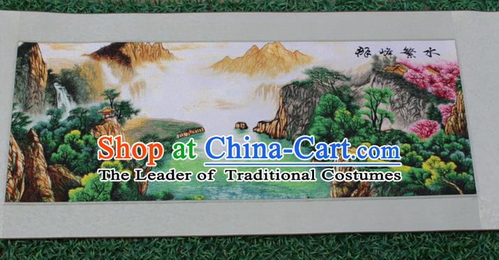 Traditional Chinese Miao Nationality Minority Crafts Hmong Xiangxi Embroidery Decorative Paintings, Embroidery Mountains-and-Waters Scroll Painting for Friends