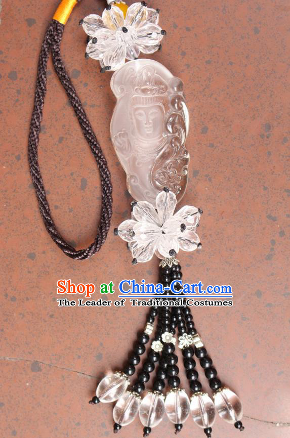 Traditional Chinese Miao Nationality Crafts Jewelry Accessory, Hmong Handmade Tassel Buddha Pendant, Miao Ethnic Minority Haven Evil Car Accessories Pendant for Women