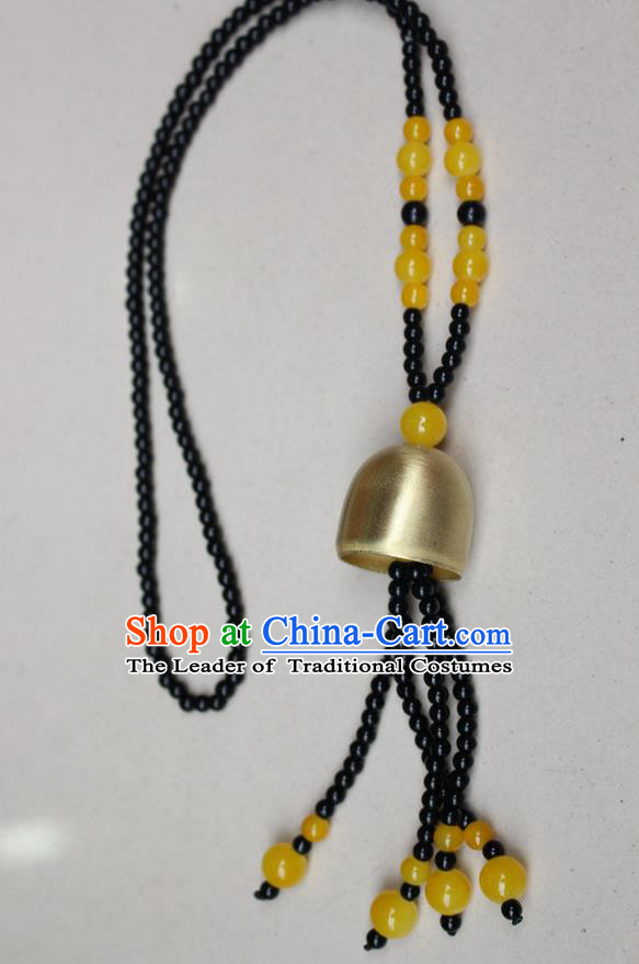 Traditional Chinese Miao Nationality Crafts Jewelry Accessory, Hmong Handmade Copper Bell Beads Tassel Pendant, Miao Ethnic Minority Avoid Evil Necklace Accessories Sweater Chain Pendant for Women