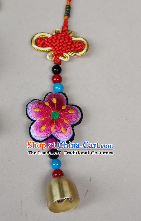 Traditional Chinese Miao Nationality Crafts Jewelry Accessory, Hmong Handmade Copper Bell Tassel Chinese Knot Embroidery Pink Flowers Pendant, Miao Ethnic Minority Haven Evil Bell Car Accessories Pendant