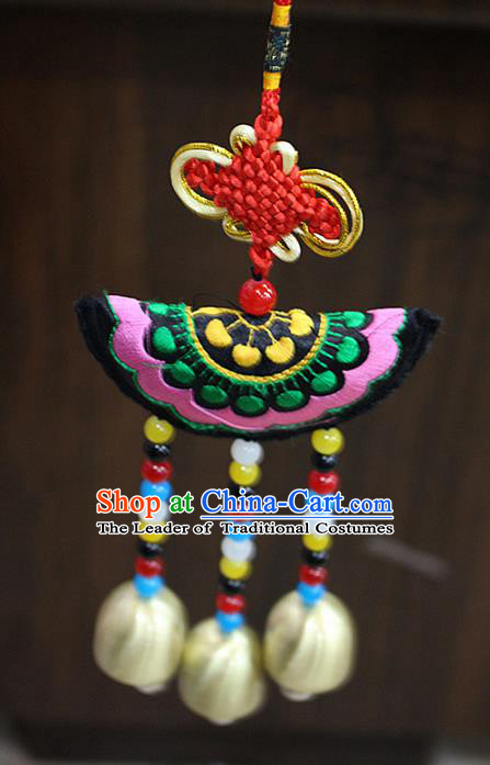 Traditional Chinese Miao Nationality Crafts Jewelry Accessory, Hmong Handmade Copper Bells Tassel Chinese Knot Embroidery Pendant, Miao Ethnic Minority Haven Evil Bell Car Accessories Pendant