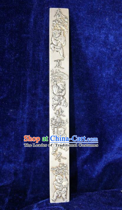 Traditional Chinese Miao Nationality Crafts Accessory, Hmong Handmade Miao Silver Four Seasons Paper Weight, Miao Ethnic Minority Palace Silver Paperweight