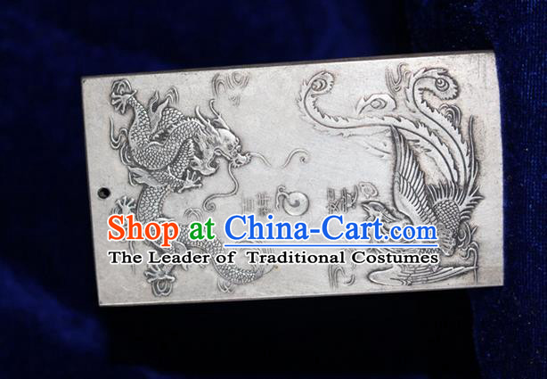 Traditional Chinese Miao Nationality Crafts Accessory, Hmong Handmade Miao Silver Dragon-Phoenix Paper Weight, Miao Ethnic Minority Palace Silver Paperweight