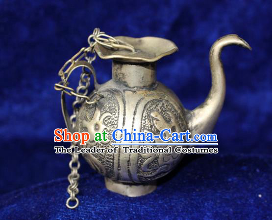 Traditional Chinese Miao Nationality Crafts Accessory, Hmong Handmade Miao Silver Kettle, Miao Ethnic Minority Palace Silver Wine Pot