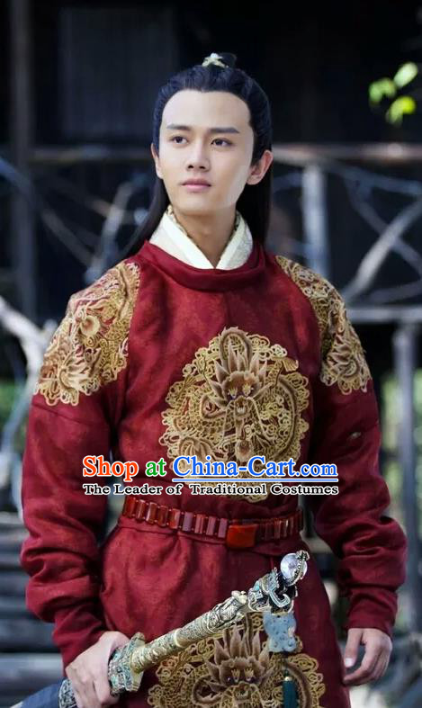 Traditional Ancient Chinese Nobility Childe Costume, Elegant Hanfu Male Lordling Dress, Tang Dynasty Swordsman Clothing, China Imperial Crown Prince Embroidered Dragon Clothing for Men