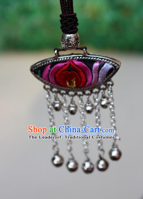 Traditional Chinese Miao Nationality Crafts Jewelry Accessory, Hmong Handmade Miao Silver Bells Tassel Embroidery Flowers Pendant, Miao Ethnic Minority Bells Necklace Accessories Sweater Chain Pendant for Women