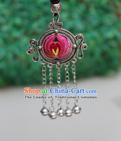 Traditional Chinese Miao Nationality Crafts Jewelry Accessory, Hmong Handmade Miao Silver Bells Tassel Double Side Embroidery Flowers Round Pendant, Miao Ethnic Minority Bells Necklace Accessories Sweater Chain Pendant for Women