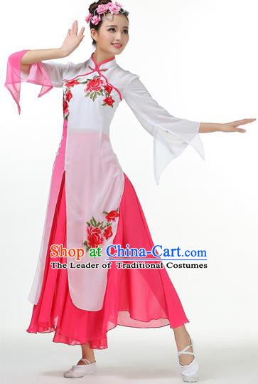 Traditional Chinese Yangge Fan Dancing Costume, Folk Dance Yangko Mandarin Collar Peony Painting Uniforms, Classic Lotus Dance Elegant Big Swing Dress Drum Dance Pink Clothing for Women